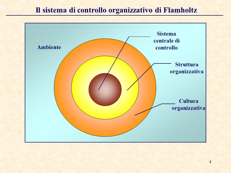 4 Il sistema di controllo organizzativo di Flamholtz Ambiente Cultura organizzativa Struttura organizzativa Sistema centrale di controllo