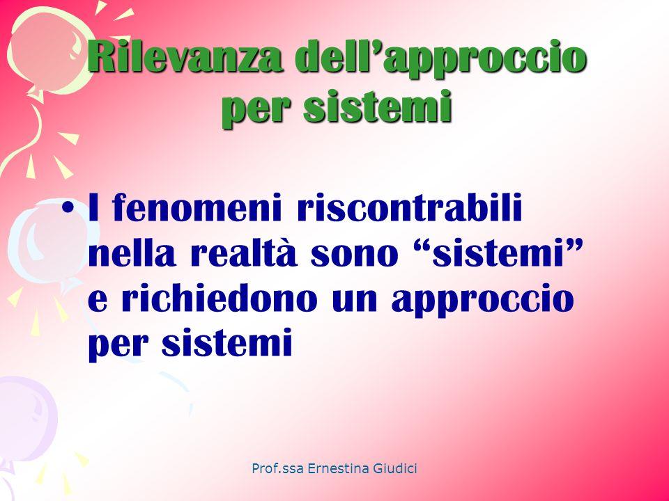 Prof.ssa Ernestina Giudici Rilevanza dellapproccio per sistemi I fenomeni riscontrabili nella realtà sono sistemi e richiedono un approccio per sistem