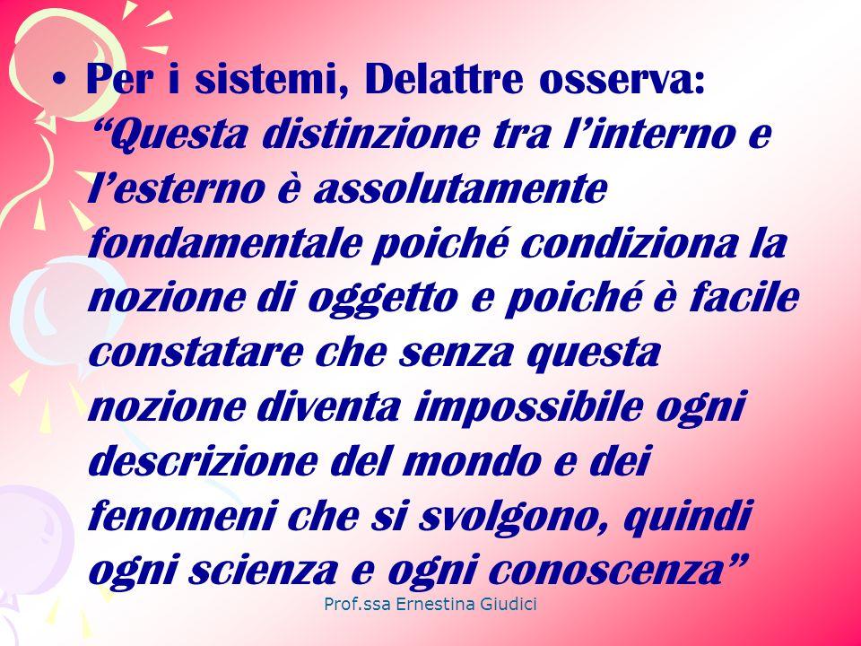 Prof.ssa Ernestina Giudici Per i sistemi, Delattre osserva: Questa distinzione tra linterno e lesterno è assolutamente fondamentale poiché condiziona