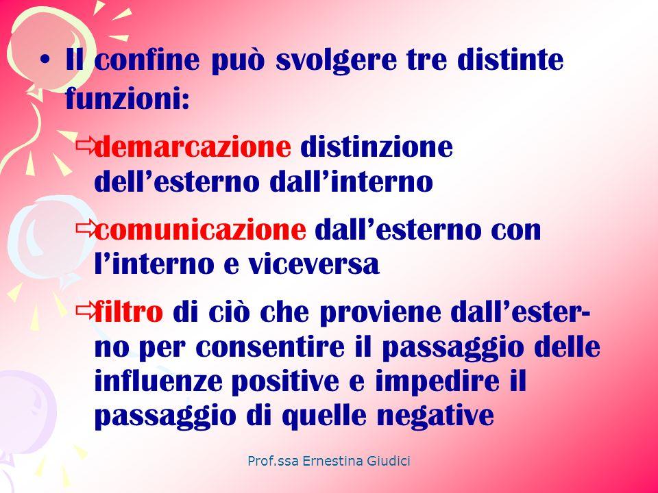Prof.ssa Ernestina Giudici Il confine può svolgere tre distinte funzioni: demarcazione distinzione dellesterno dallinterno comunicazione dallesterno c