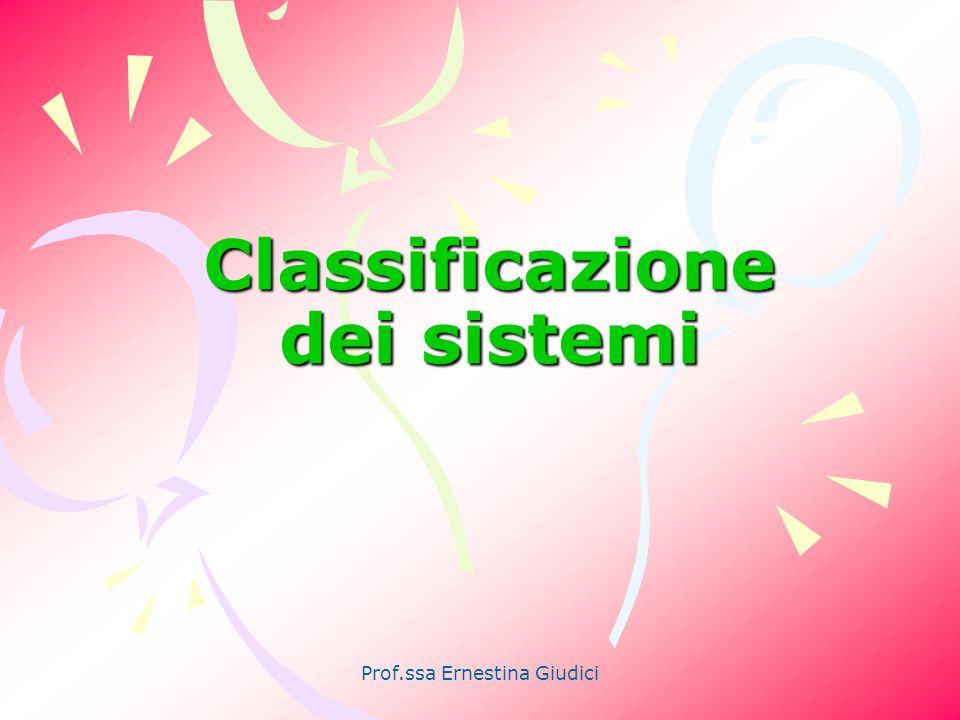 Prof.ssa Ernestina Giudici Classificazione dei sistemi