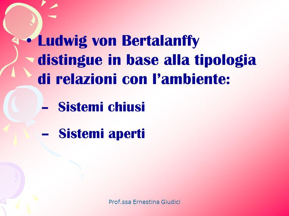 Prof.ssa Ernestina Giudici Ludwig von Bertalanffy distingue in base alla tipologia di relazioni con lambiente: – Sistemi chiusi – Sistemi aperti