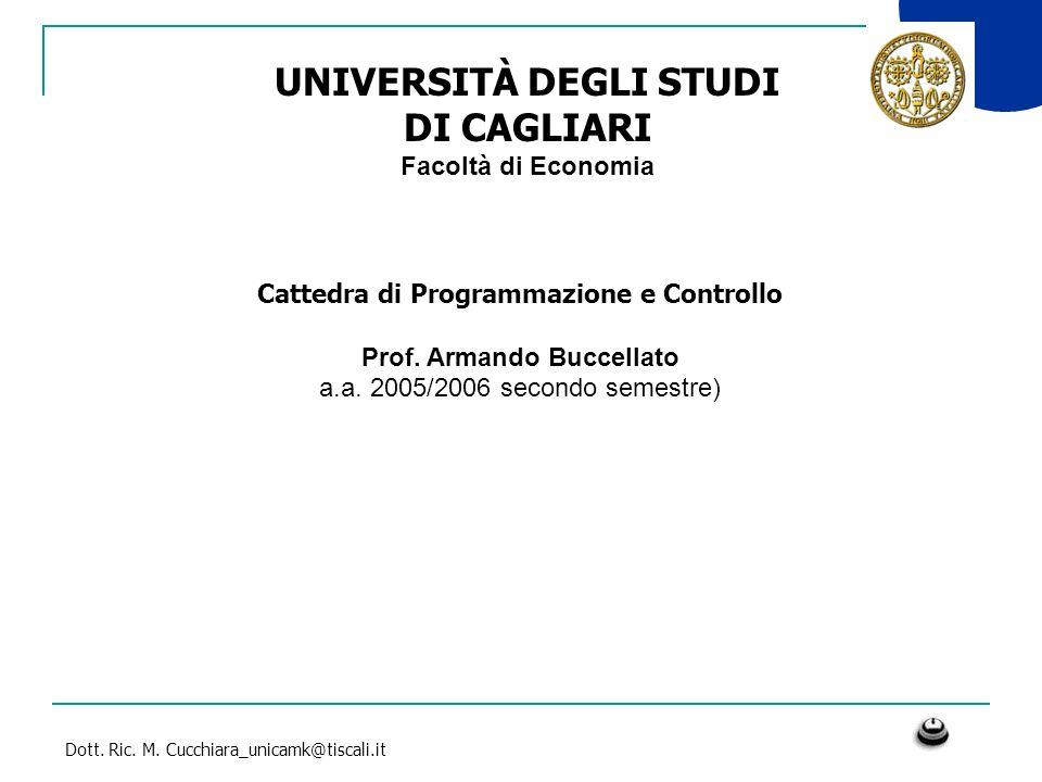 Dott. Ric. M. Cucchiara_unicamk@tiscali.it UNIVERSITÀ DEGLI STUDI DI CAGLIARI Facoltà di Economia Cattedra di Programmazione e Controllo Prof. Armando