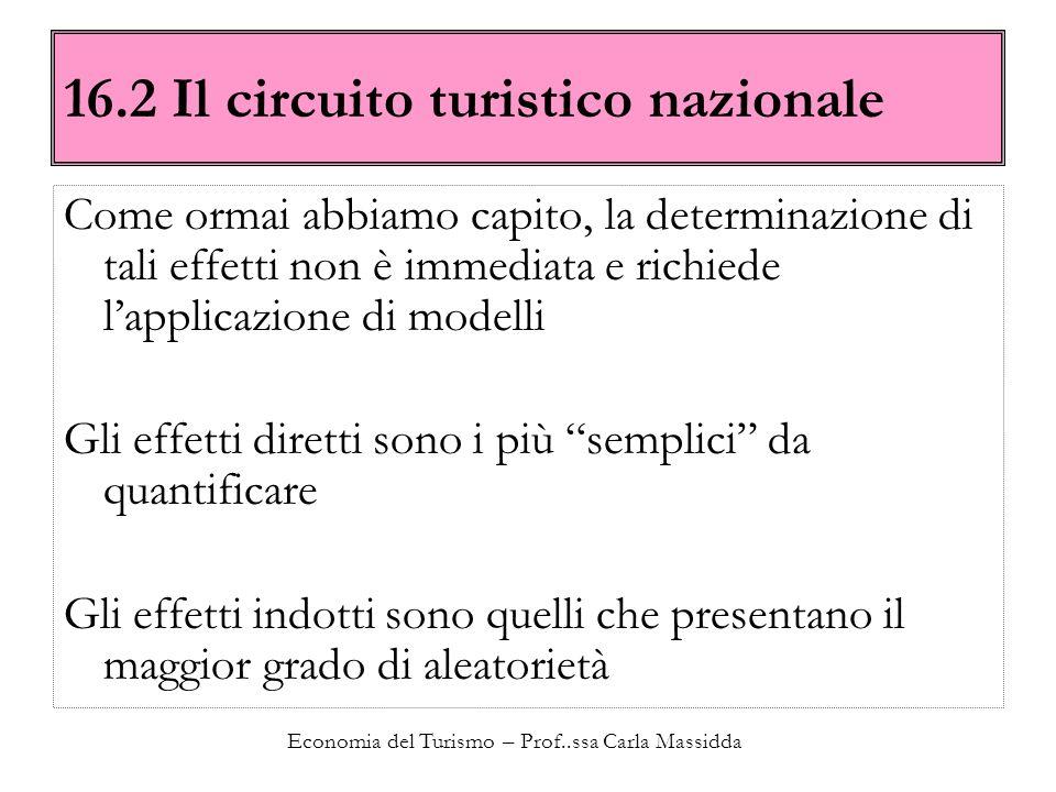 Economia del Turismo – Prof..ssa Carla Massidda 16.2 Il circuito turistico nazionale Come ormai abbiamo capito, la determinazione di tali effetti non