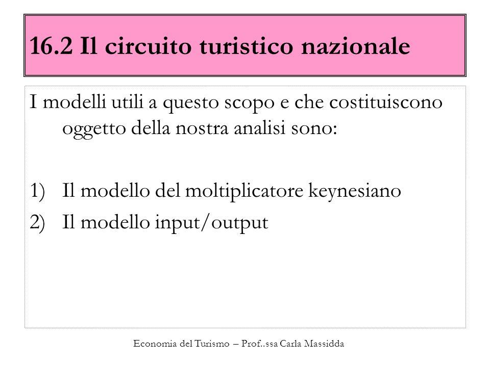 Economia del Turismo – Prof..ssa Carla Massidda 16.2 Il circuito turistico nazionale I modelli utili a questo scopo e che costituiscono oggetto della