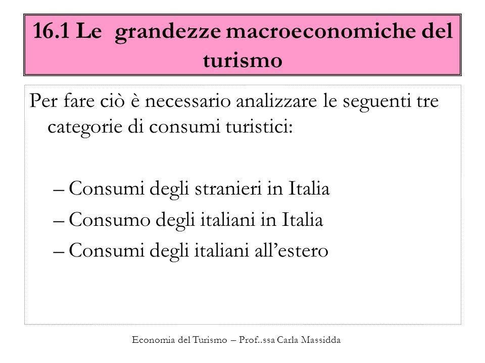 Economia del Turismo – Prof..ssa Carla Massidda 16.1 Le grandezze macroeconomiche del turismo Per fare ciò è necessario analizzare le seguenti tre cat