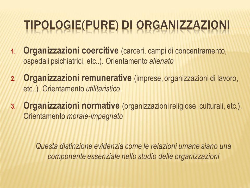 1. Organizzazioni coercitive (carceri, campi di concentramento, ospedali psichiatrici, etc..).