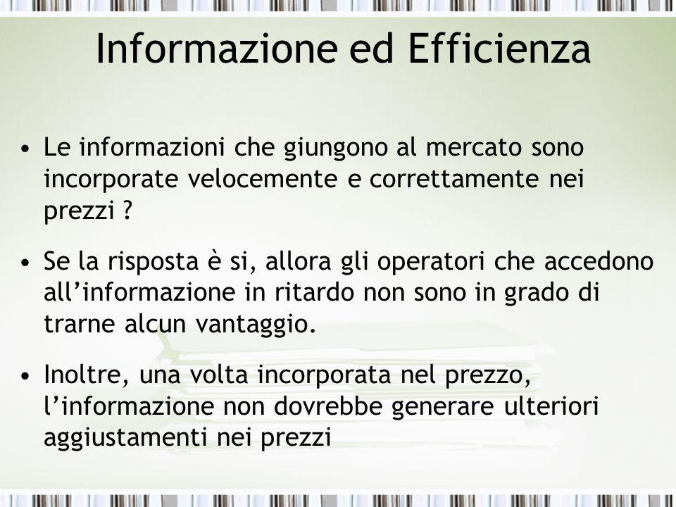 Informazione ed Efficienza Le informazioni che giungono al mercato sono incorporate velocemente e correttamente nei prezzi .
