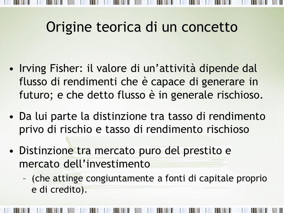Origine teorica di un concetto Irving Fisher: il valore di unattività dipende dal flusso di rendimenti che è capace di generare in futuro; e che detto flusso è in generale rischioso.