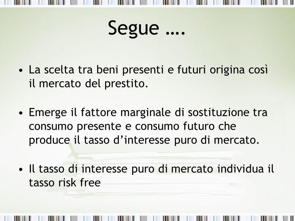 Segue …. La scelta tra beni presenti e futuri origina così il mercato del prestito.