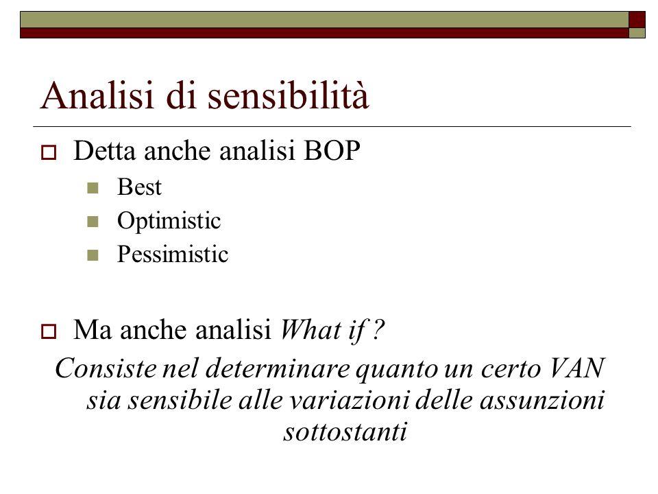 Analisi di sensibilità Detta anche analisi BOP Best Optimistic Pessimistic Ma anche analisi What if ? Consiste nel determinare quanto un certo VAN sia