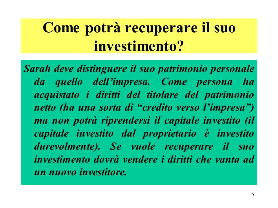 5 Come potrà recuperare il suo investimento.