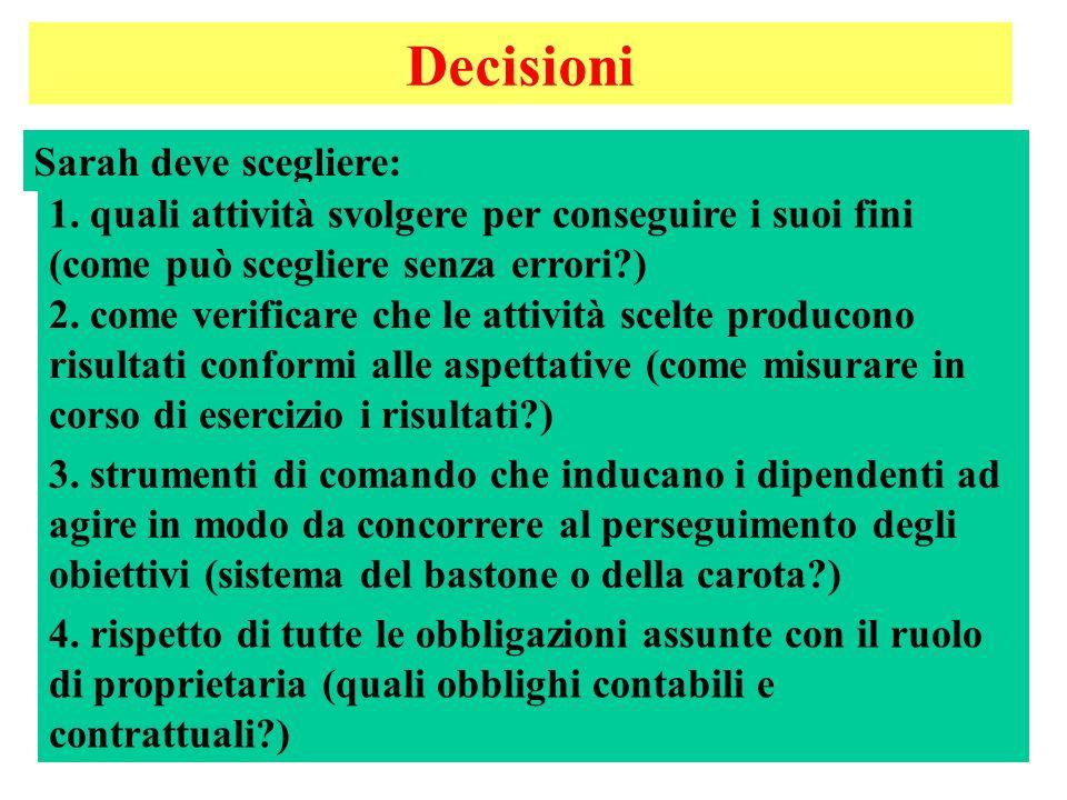 6 Decisioni Sarah deve scegliere: 2.