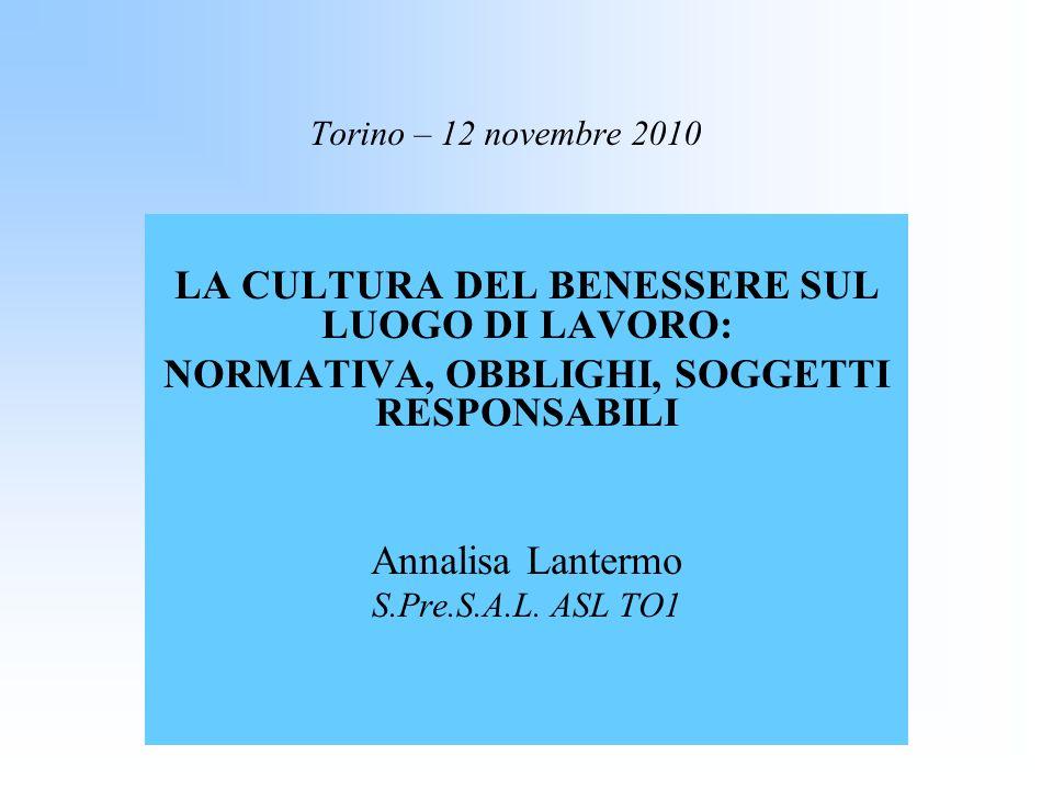Torino – 12 novembre 2010 LA CULTURA DEL BENESSERE SUL LUOGO DI LAVORO: NORMATIVA, OBBLIGHI, SOGGETTI RESPONSABILI Annalisa Lantermo S.Pre.S.A.L. ASL