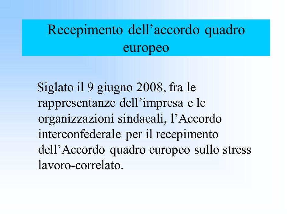 Recepimento dellaccordo quadro europeo Siglato il 9 giugno 2008, fra le rappresentanze dellimpresa e le organizzazioni sindacali, lAccordo interconfed