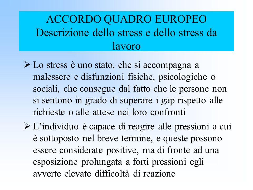 ACCORDO QUADRO EUROPEO Descrizione dello stress e dello stress da lavoro Lo stress è uno stato, che si accompagna a malessere e disfunzioni fisiche, p
