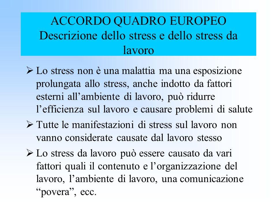 ACCORDO QUADRO EUROPEO Descrizione dello stress e dello stress da lavoro Lo stress non è una malattia ma una esposizione prolungata allo stress, anche
