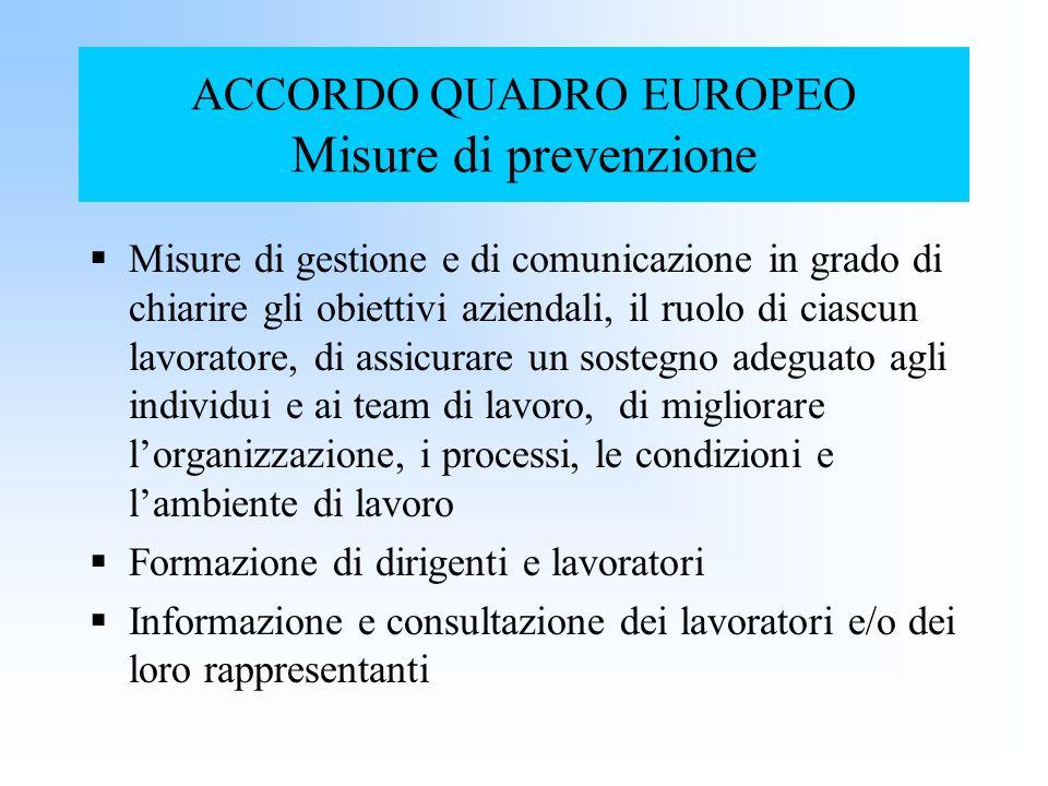 ACCORDO QUADRO EUROPEO Misure di prevenzione Misure di gestione e di comunicazione in grado di chiarire gli obiettivi aziendali, il ruolo di ciascun l