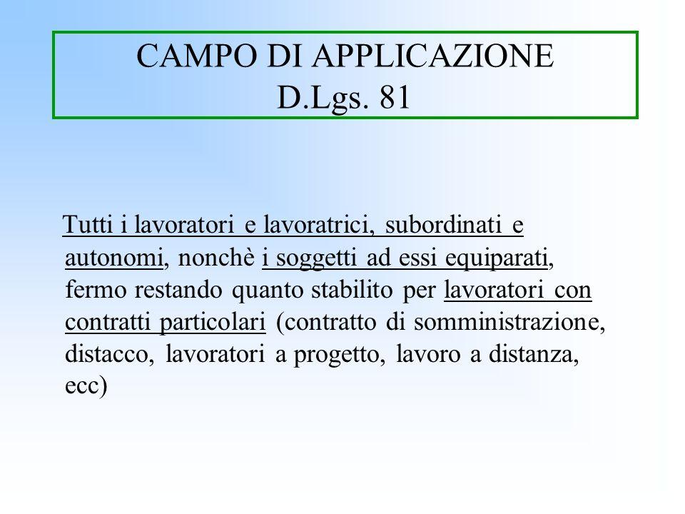 CAMPO DI APPLICAZIONE D.Lgs. 81 Tutti i lavoratori e lavoratrici, subordinati e autonomi, nonchè i soggetti ad essi equiparati, fermo restando quanto