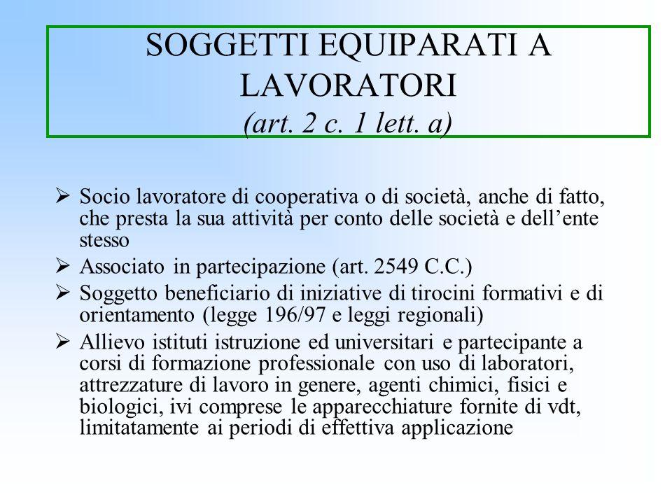 SOGGETTI EQUIPARATI A LAVORATORI (art. 2 c. 1 lett. a) Socio lavoratore di cooperativa o di società, anche di fatto, che presta la sua attività per co