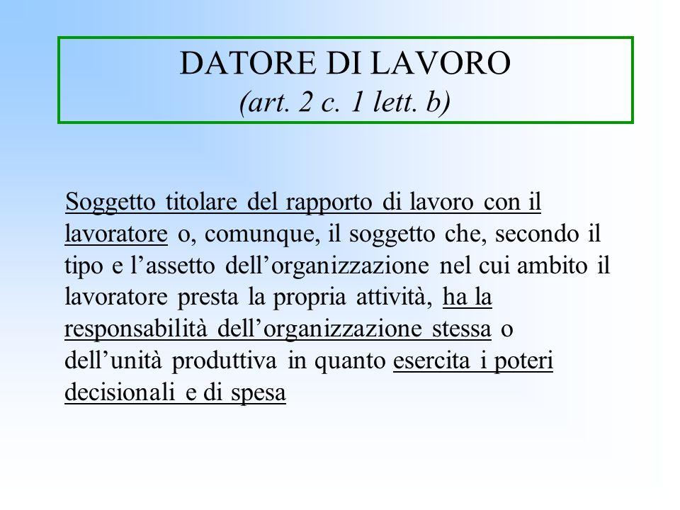 DATORE DI LAVORO (art. 2 c. 1 lett. b) Soggetto titolare del rapporto di lavoro con il lavoratore o, comunque, il soggetto che, secondo il tipo e lass
