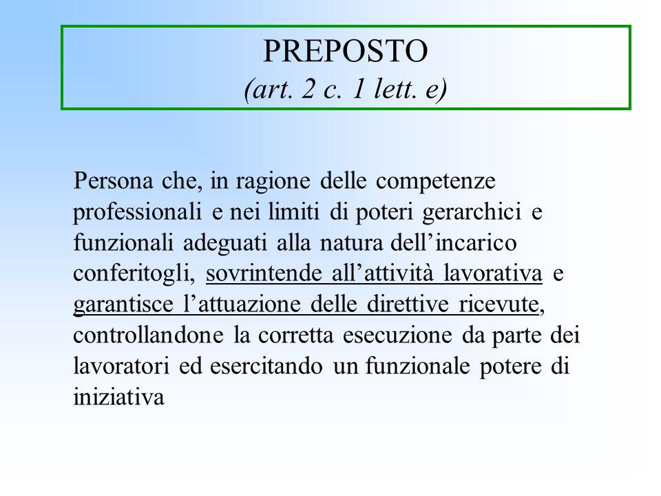 PREPOSTO (art. 2 c. 1 lett. e) Persona che, in ragione delle competenze professionali e nei limiti di poteri gerarchici e funzionali adeguati alla nat