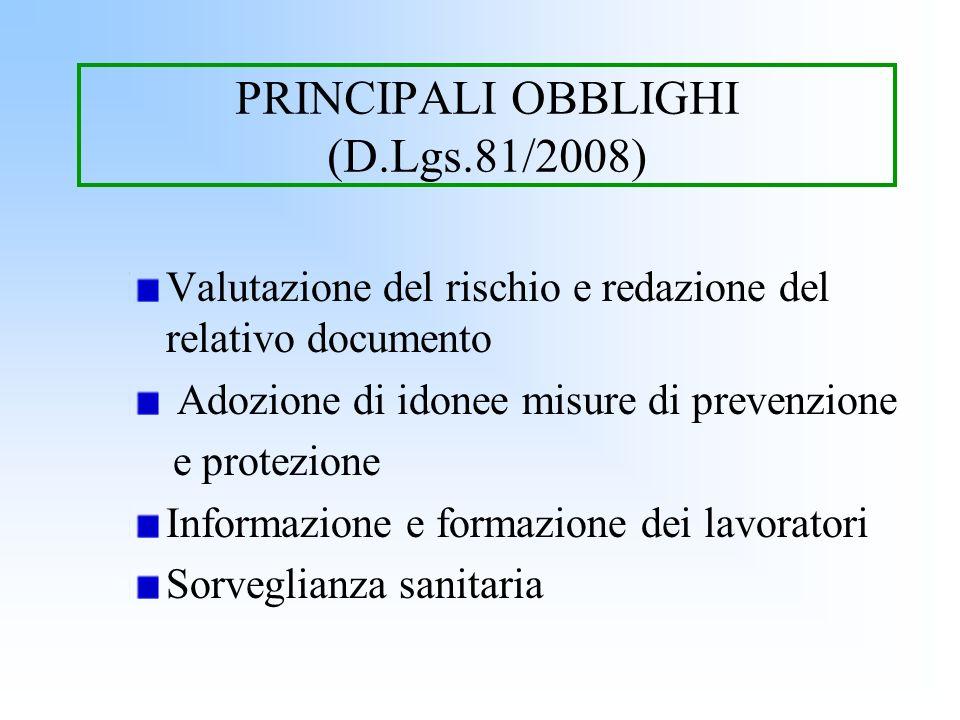 PRINCIPALI OBBLIGHI (D.Lgs.81/2008) Valutazione del rischio e redazione del relativo documento Adozione di idonee misure di prevenzione e protezione I