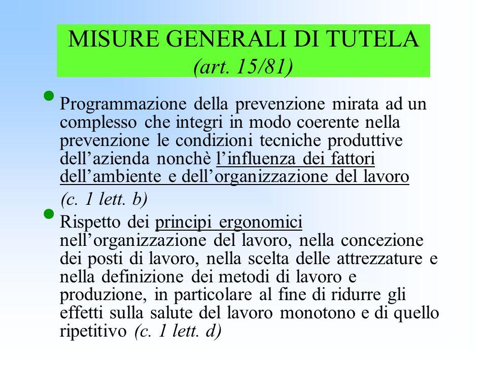 MISURE GENERALI DI TUTELA (art. 15/81) Programmazione della prevenzione mirata ad un complesso che integri in modo coerente nella prevenzione le condi
