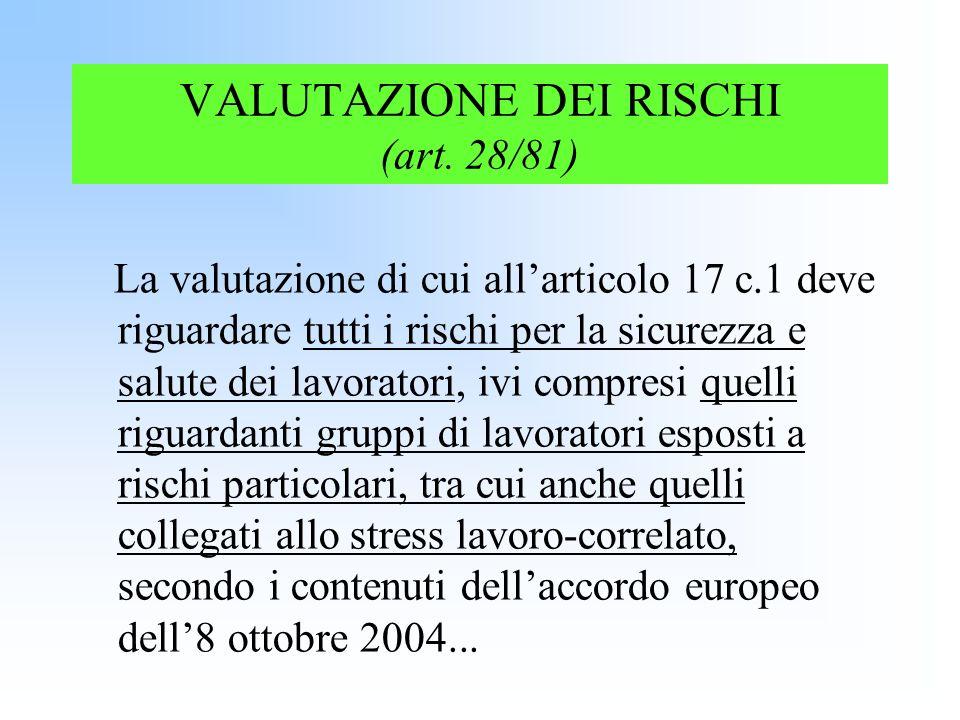 VALUTAZIONE DEI RISCHI (art. 28/81) La valutazione di cui allarticolo 17 c.1 deve riguardare tutti i rischi per la sicurezza e salute dei lavoratori,