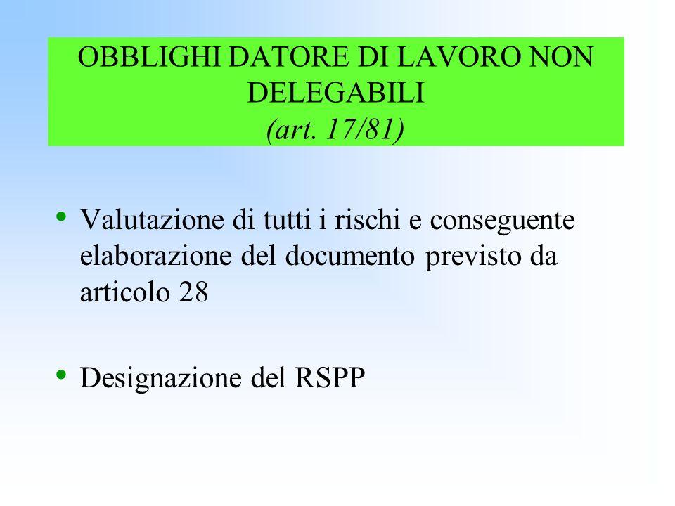 OBBLIGHI DATORE DI LAVORO NON DELEGABILI (art. 17/81) Valutazione di tutti i rischi e conseguente elaborazione del documento previsto da articolo 28 D