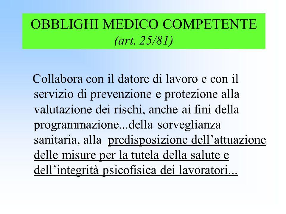OBBLIGHI MEDICO COMPETENTE (art. 25/81) Collabora con il datore di lavoro e con il servizio di prevenzione e protezione alla valutazione dei rischi, a