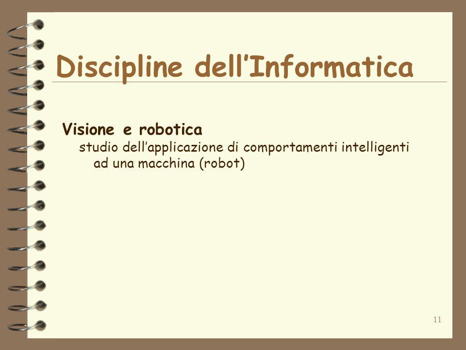 11 Discipline dellInformatica Visione e robotica studio dellapplicazione di comportamenti intelligenti ad una macchina (robot)