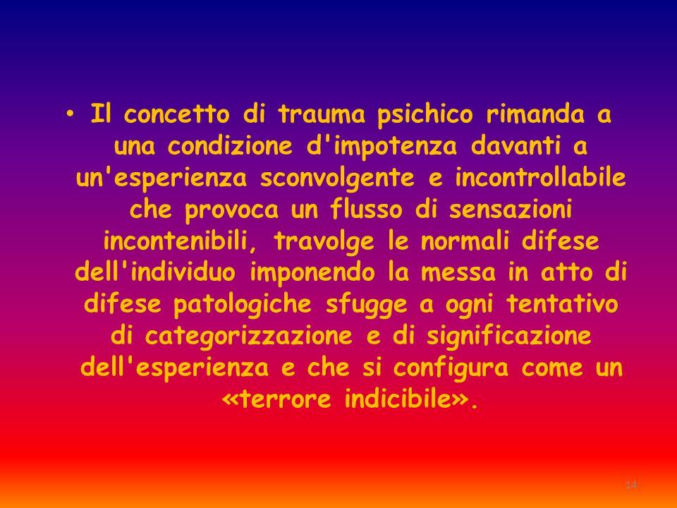 14 Il concetto di trauma psichico rimanda a una condizione d'impotenza davanti a un'esperienza sconvolgente e incontrollabile che provoca un flusso di