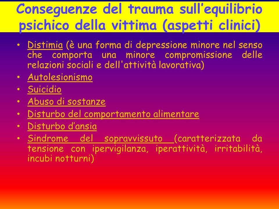 Conseguenze del trauma sullequilibrio psichico della vittima (aspetti clinici) Distimia (è una forma di depressione minore nel senso che comporta una
