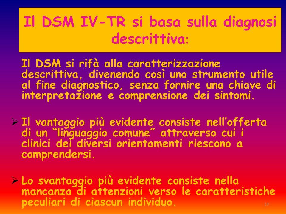 19 Il DSM IV-TR si basa sulla diagnosi descrittiva : Il DSM si rifà alla caratterizzazione descrittiva, divenendo così uno strumento utile al fine dia