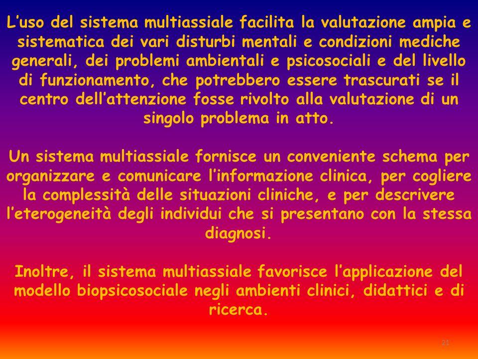 21 Luso del sistema multiassiale facilita la valutazione ampia e sistematica dei vari disturbi mentali e condizioni mediche generali, dei problemi amb