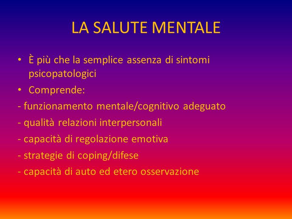 LA SALUTE MENTALE È più che la semplice assenza di sintomi psicopatologici Comprende: - funzionamento mentale/cognitivo adeguato - qualità relazioni i
