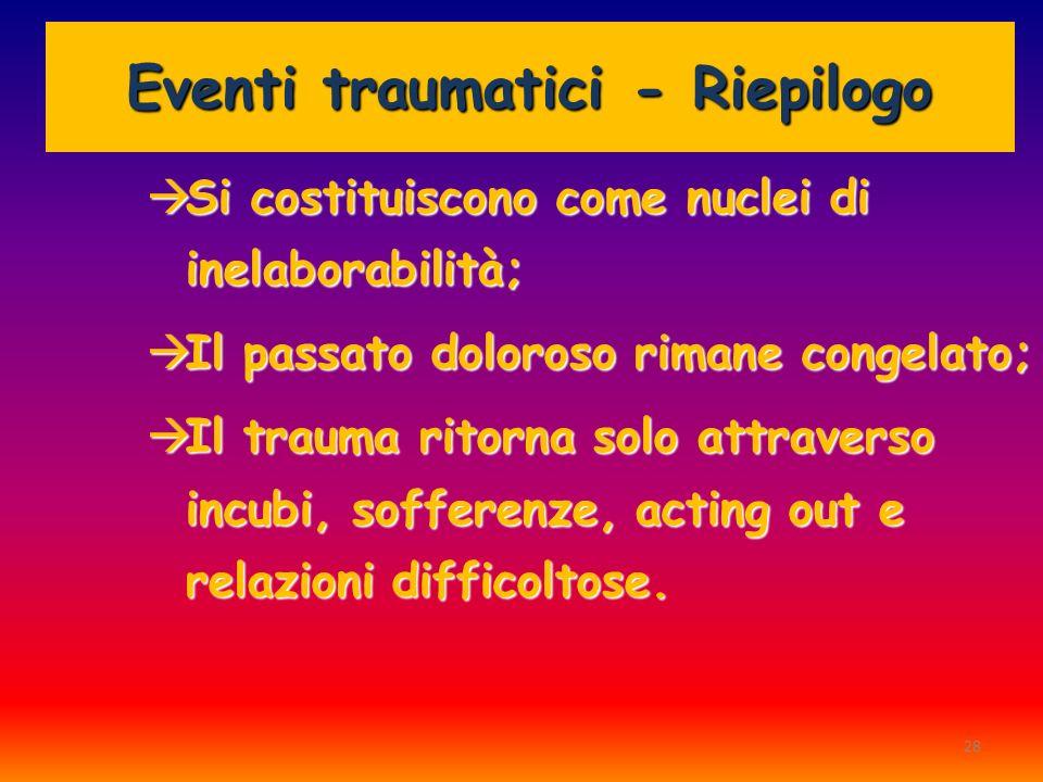 28 Eventi traumatici - Riepilogo Si costituiscono come nuclei di inelaborabilità; Si costituiscono come nuclei di inelaborabilità; Il passato doloroso
