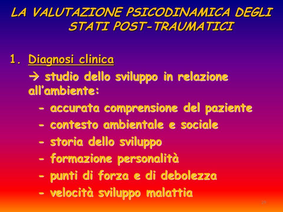 29 LA VALUTAZIONE PSICODINAMICA DEGLI STATI POST-TRAUMATICI 1.Diagnosi clinica studio dello sviluppo in relazione allambiente: studio dello sviluppo i