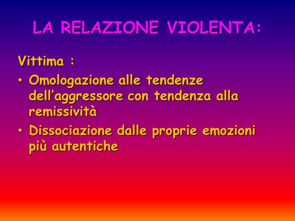 LA RELAZIONE VIOLENTA: Vittima : Omologazione alle tendenze dellaggressore con tendenza alla remissività Omologazione alle tendenze dellaggressore con