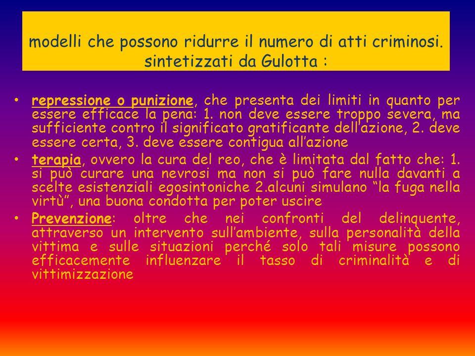 modelli che possono ridurre il numero di atti criminosi. sintetizzati da Gulotta : repressione o punizione, che presenta dei limiti in quanto per esse