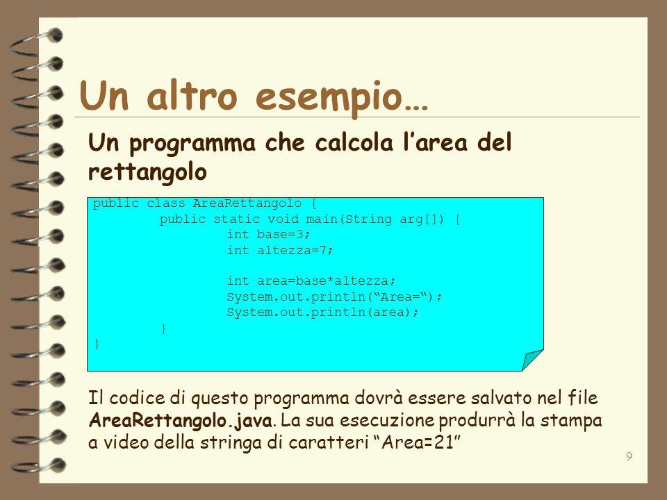 9 Un altro esempio… Un programma che calcola larea del rettangolo public class AreaRettangolo { public static void main(String arg[]) { int base=3; int altezza=7; int area=base*altezza; System.out.println(Area=); System.out.println(area); } Il codice di questo programma dovrà essere salvato nel file AreaRettangolo.java.