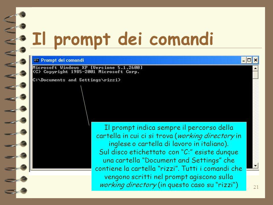 21 Il prompt dei comandi Il prompt indica sempre il percorso della cartella in cui ci si trova (working directory in inglese o cartella di lavoro in italiano).