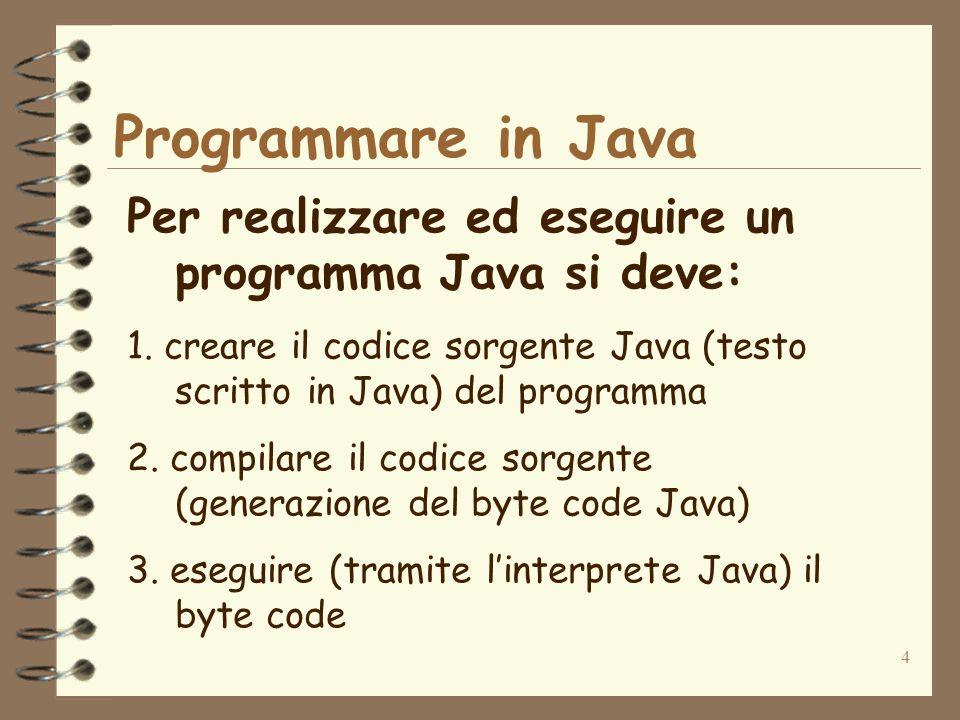 4 Programmare in Java Per realizzare ed eseguire un programma Java si deve: 1.
