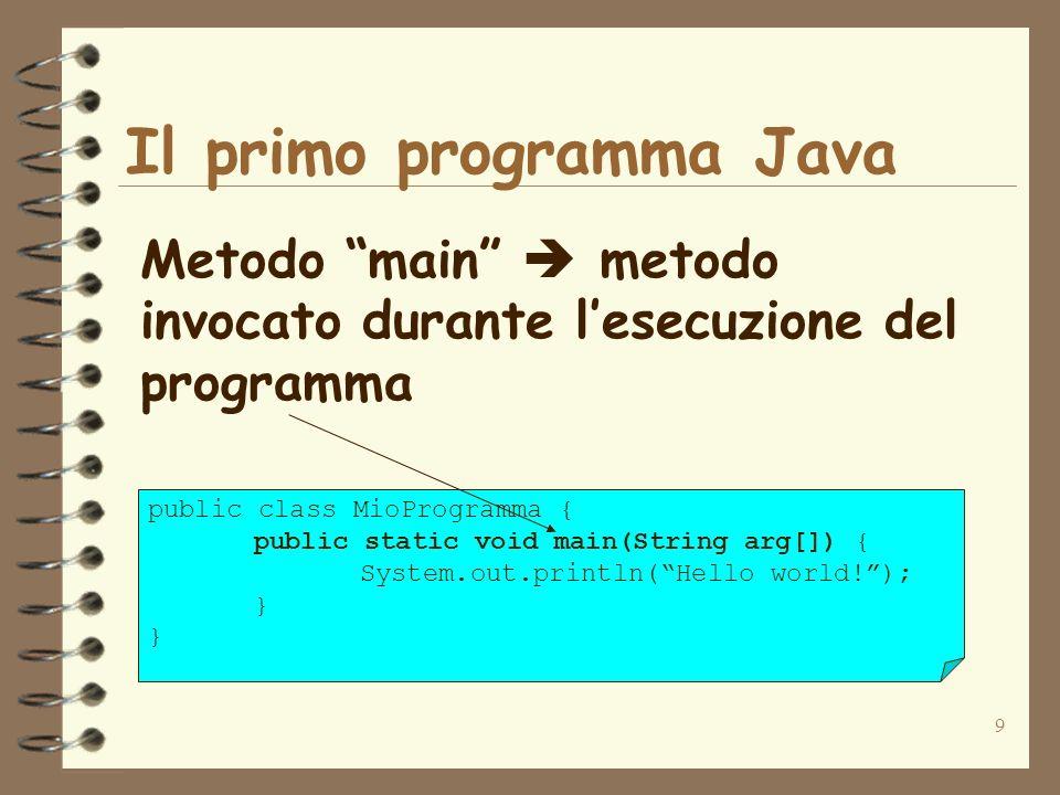 9 Il primo programma Java Metodo main metodo invocato durante lesecuzione del programma public class MioProgramma { public static void main(String arg[]) { System.out.println(Hello world!); }
