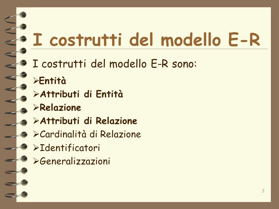 3 I costrutti del modello E-R I costrutti del modello E-R sono: Entità Attributi di Entità Relazione Attributi di Relazione Cardinalità di Relazione I