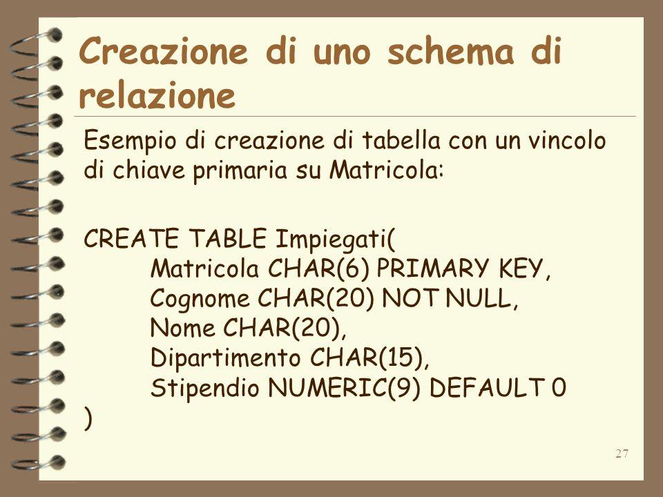 27 Creazione di uno schema di relazione Esempio di creazione di tabella con un vincolo di chiave primaria su Matricola: CREATE TABLE Impiegati( Matric