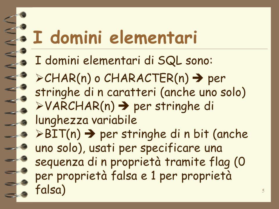 5 I domini elementari I domini elementari di SQL sono: CHAR(n) o CHARACTER(n) per stringhe di n caratteri (anche uno solo) VARCHAR(n) per stringhe di