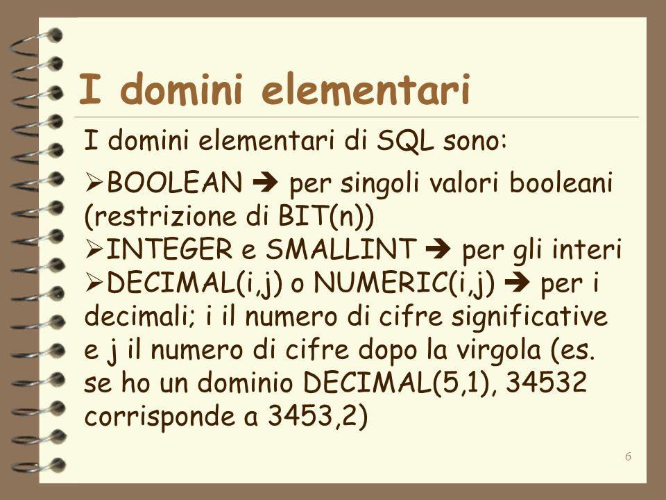 6 I domini elementari I domini elementari di SQL sono: BOOLEAN per singoli valori booleani (restrizione di BIT(n)) INTEGER e SMALLINT per gli interi D