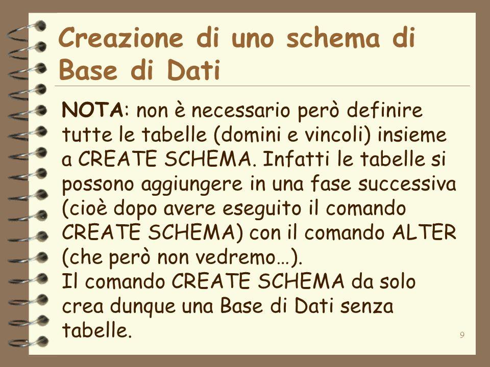 9 Creazione di uno schema di Base di Dati NOTA: non è necessario però definire tutte le tabelle (domini e vincoli) insieme a CREATE SCHEMA. Infatti le